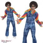 "FANCY DRESS COSTUME # MENS 1970's GROOVIER DANCER DENIM JUMPSUIT MEDIUM 38""- 40"""